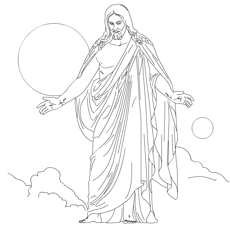christ in the sky line art coloring