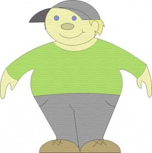 Boy with a ball cap and green shirt clip art